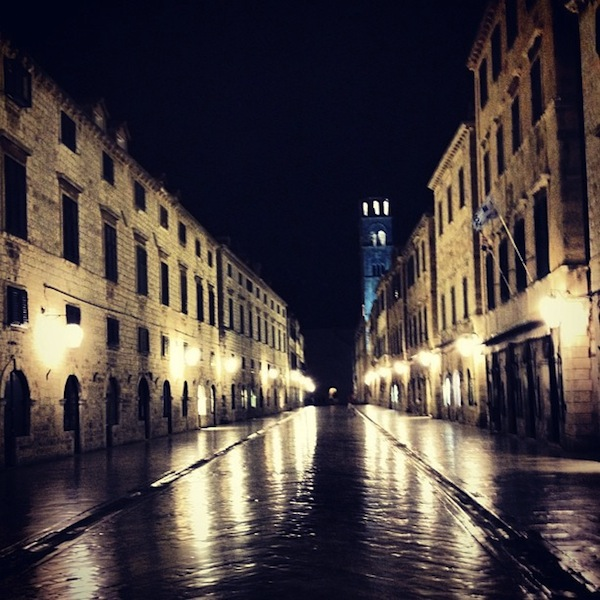 Pre-dawn streets in Old Town Dubrovnik, Croatia