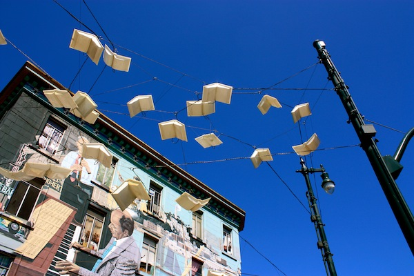 Styrofoam birds in North Beach, San Francisco, CA, USA