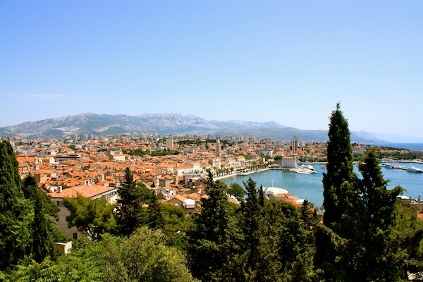 View of Split, the port and the Adriatic Sea in Croatia