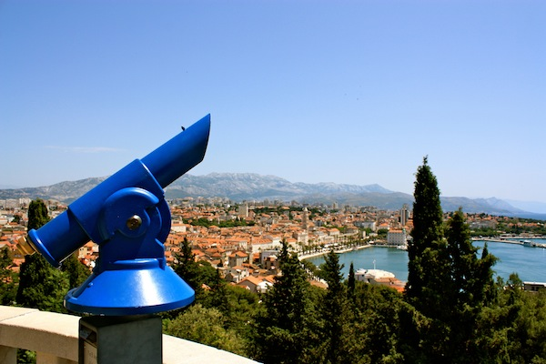 Telescope and view over the Split port in the Adriatic Sea, Croatia