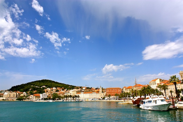 Sunny morning and blue skies over the Split port, Croatia