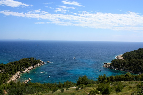View of the Adriatic Sea from the twisting road from Stari Grad to Hvar Town, Croatia