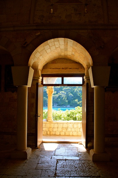 View from the monastery on an island in Mljet National Park, Croatia