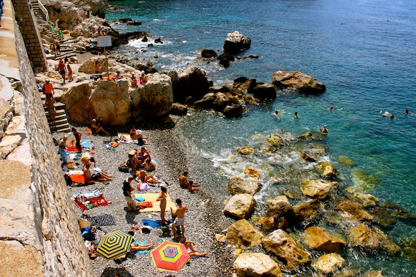 Coco Beach plage rocks in Nice, French Riviera, France