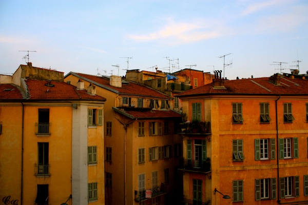 View of the rooftops and windows in Old Nice, French Riviera, France