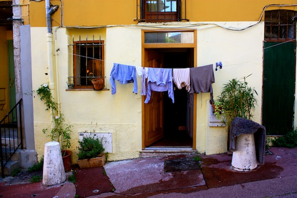 Laundry hanging outside home in Old Nice, French Riviera, France