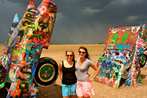Christine Amorose & Renee Eggers at Cadillac Ranch, Amarillo, Texas
