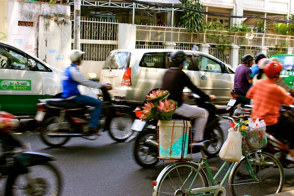 Bicycle and motorbike traffic in Saigon, Ho Chi Minh City HCMC, Vietnam