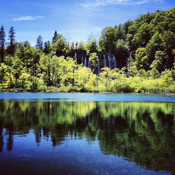 Waterfall reflection at Plitvice Lakes National Park in Croatia