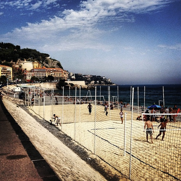 Sand volleyball court on the beach in Nice, France
