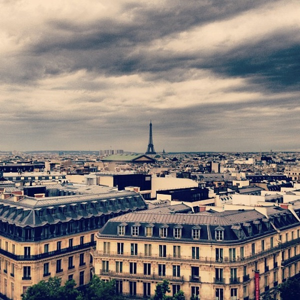 View of Paris from the Galeries Lafayette Terrace on a gray cloudy day, France