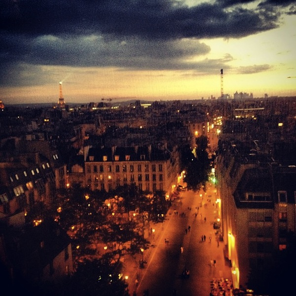 Paris at sunset from the Centre Pompidou in France, via Instagram