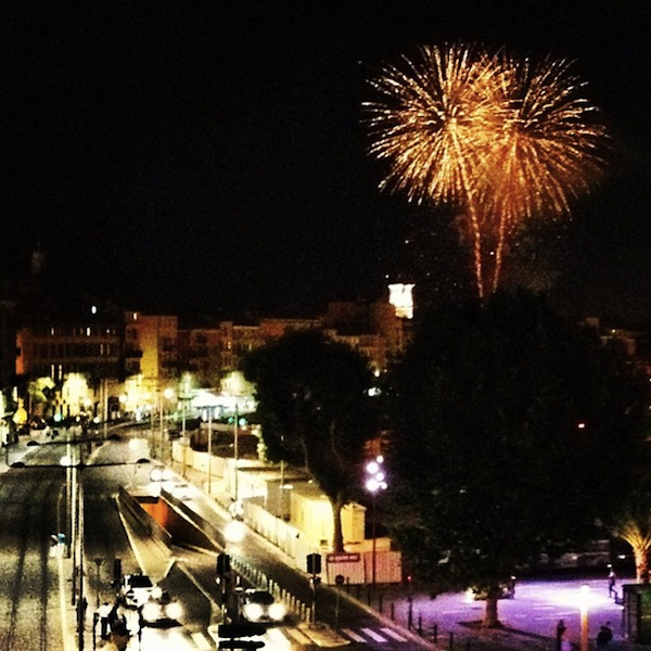 Fireworks over old Nice, France