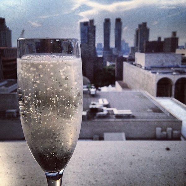 Champagne on the rooftop bar at the Empire Hotel, New York City, USA