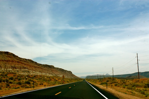 Wide open spaces through Arizona on a sunny day on a USA road trip