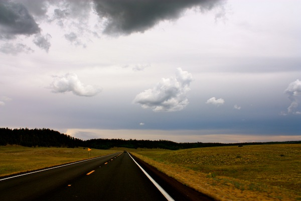 Wide open spaces through Arizona on a cloudy day on a USA road trip