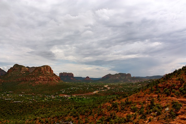 Cloudy skies over the Sedona red rocks in Arizona, USA