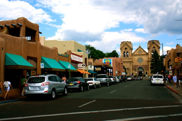 The streets and Cathedral of Santa Fe, New Mexico, USA