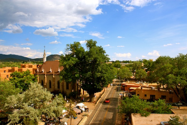 View from Bell Tower Bar at La Fonda in Santa Fe, New Mexico, USA