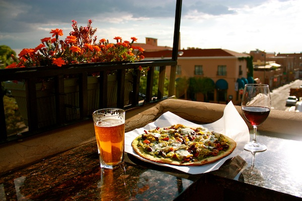 Dinner and drinks at Rooftop Pizzeria in Santa Fe, New Mexico, USA