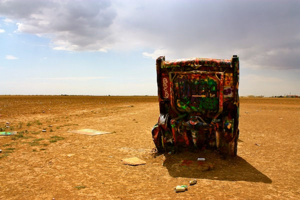 Graffiti car art installation at Cadillac Ranch in Amarillo, Texas, USA