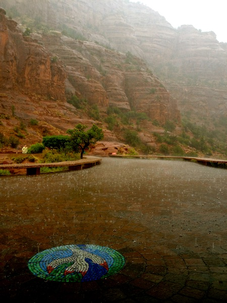 Rain pouring on the Sedona red rocks in Arizona, USA