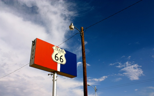 Route 66 sign and blue skies in Amarillo, Texas, USA