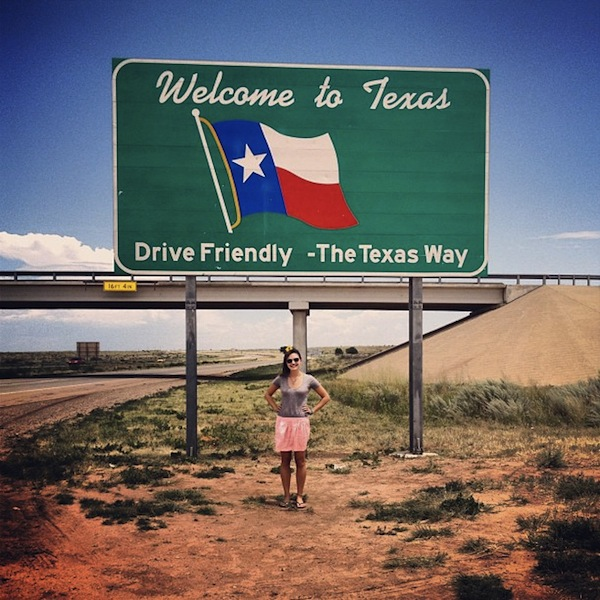 Christine Amorose on the Texas state border