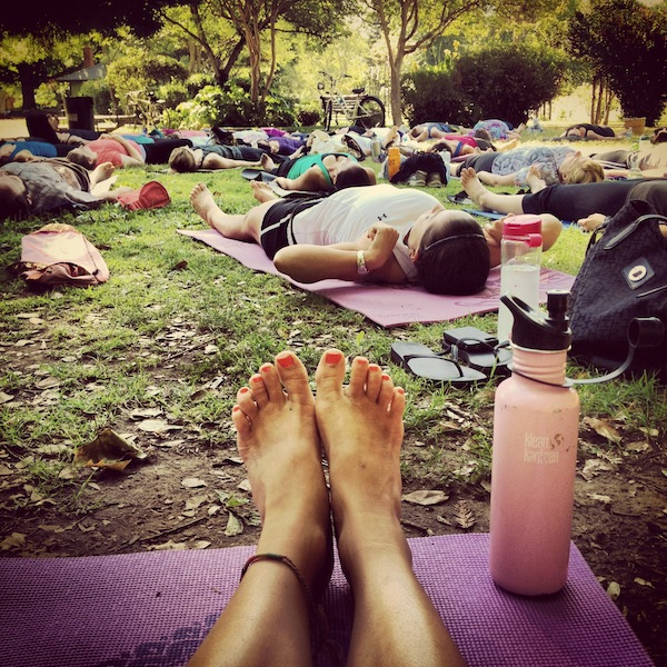 Yoga in the park, Sacramento, California in July 2012