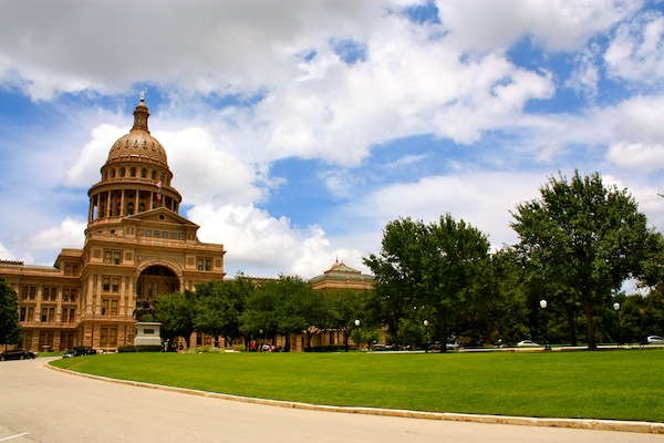 Exterior of the Texas State Capitol building on a sunny day in Austin, Texas, USA