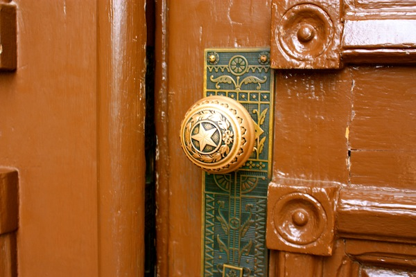 Lone star doorknob at Texas State Capitol building in Austin, Texas, USA