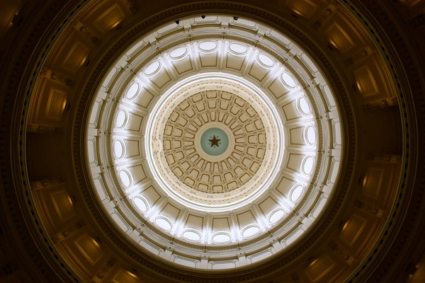Lone star ceiling at Texas State Capitol building in Austin, Texas, USA