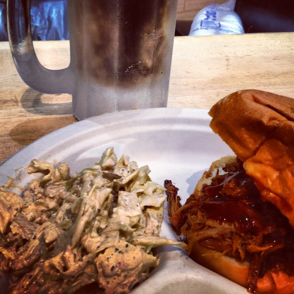 Pulled pork sandwich and spicy coleslaw at Whole Foods Market in Austin, Texas