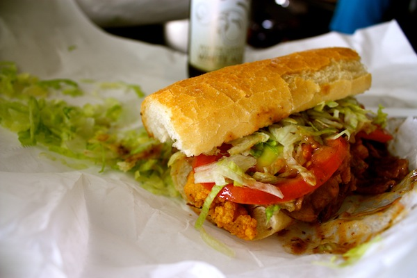 Surf 'n Turf poboy at Parkway Bakery in New Orleans, Louisiana