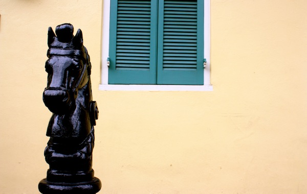 Shutters and horse statue in New Orleans, Louisiana