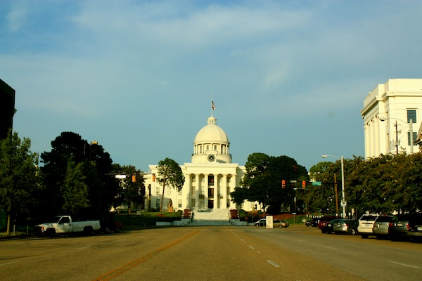Afternoon sunshine on capitol buildings in Montgomery, Alabama