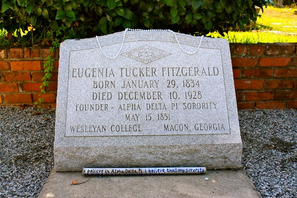 Grave of Eugenia Tucker Fitzgerald, founder of The Adelphean Society in Macon, Georgia