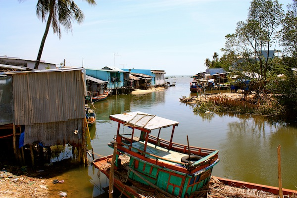Houses and boats in Cay Sao, Phu Quoc Island, Vietnam
