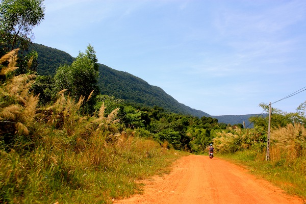 Wide open road in Phu Quoc National Park in Vietnam