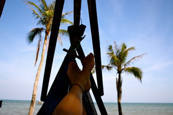 Resting in a hammock at Coco Beach on Phu Quoc Island, Vietnam