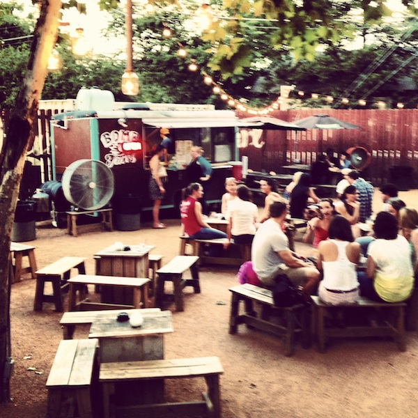 Lustre Pearl backyard bar on Rainey Street in Austin, Texas