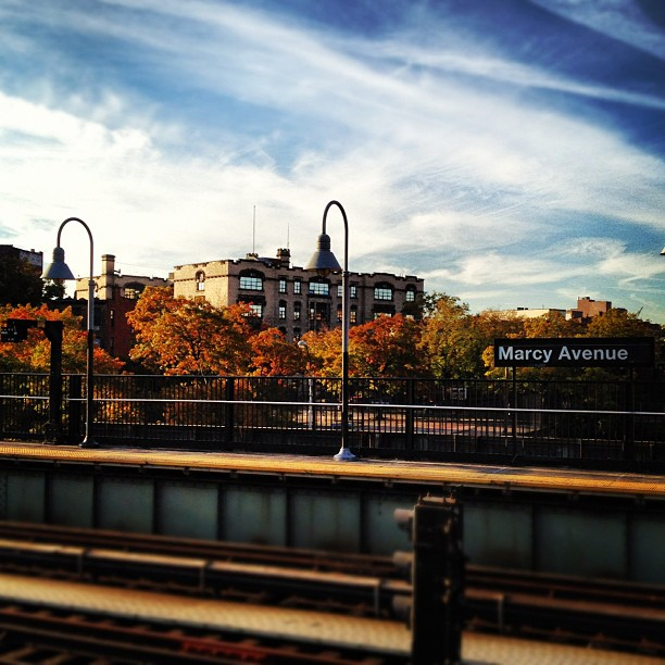 Marcy Subway station in autumn in New York City, USA