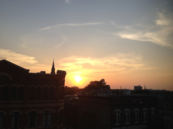 Sunset from the Rootop Bar at the Vendue Inn in Charleston, South Carolina