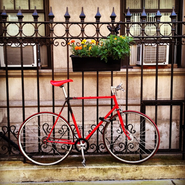 Red bicycle in Morningside Heights, New York City, USA