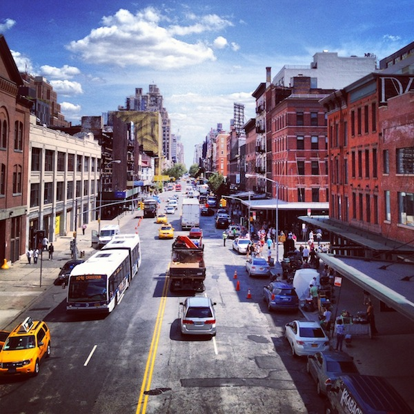 View down Amsterdam Avenue from Columbia University, Morningside Heights, New York City
