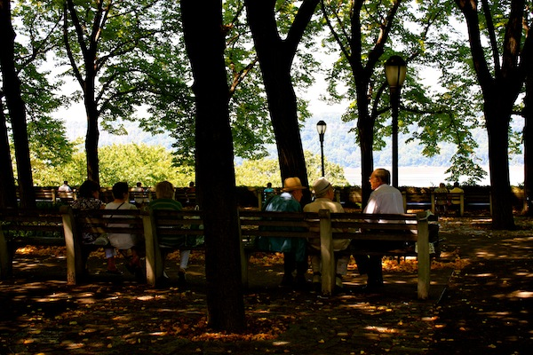 Triple date at Fort Tryon Park in Manhattan, New York City