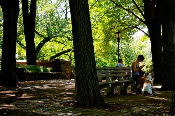 Girl and her dog at Fort Tryon Park in Manhattan, New York City
