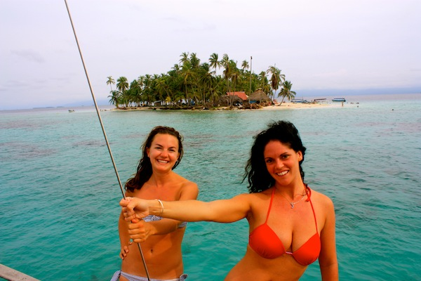 Christine Amorose and Jess Jones in the San Blas Islands on the Black Dragonfly
