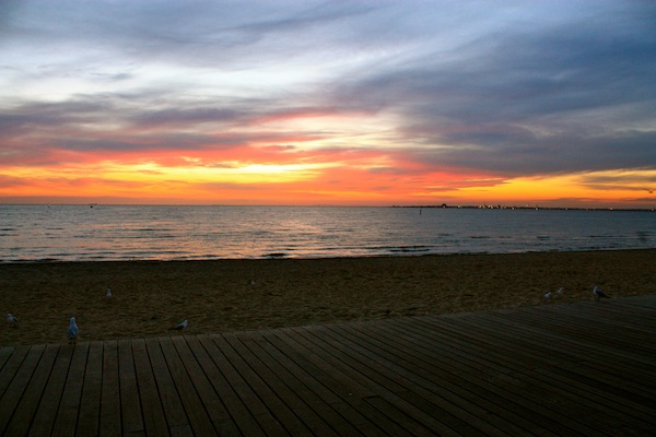 Sunset over St Kilda Beach in Melbourne, Australia