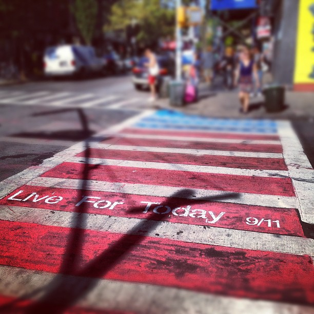 Live for today 9/11 street chalk in Williamsburg, New York City